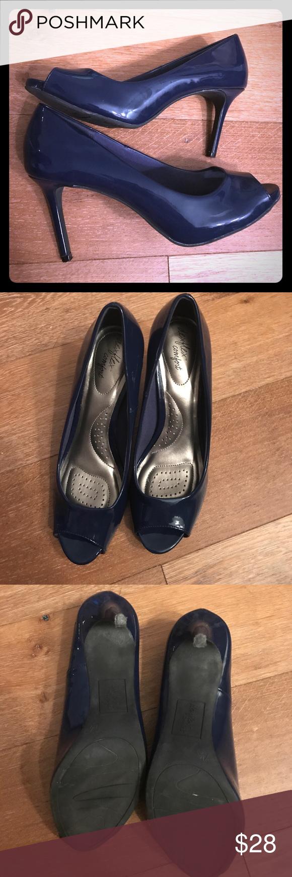 8941e68da8 Dexflex navy blue peep toe heels Dexflex navy blue peep toe heels - worn  once. Runs a bit big. Very comfortable heel. Payless Shoes Heels
