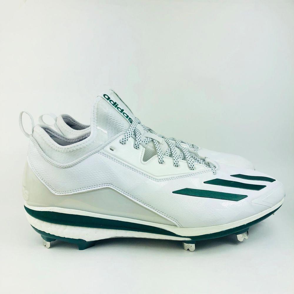 82e69c431 Adidas Energy Boost Icon 2.0 Metal Baseball Cleats White Green Size 12.5  Q16533 (eBay Link)  baseballcleats