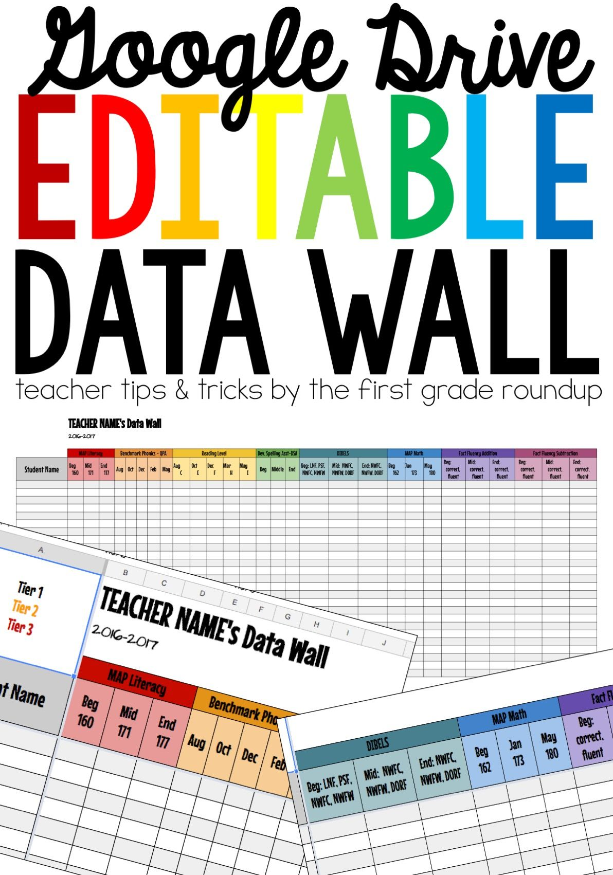 data wall compatible with google drive ideas for primary teachers