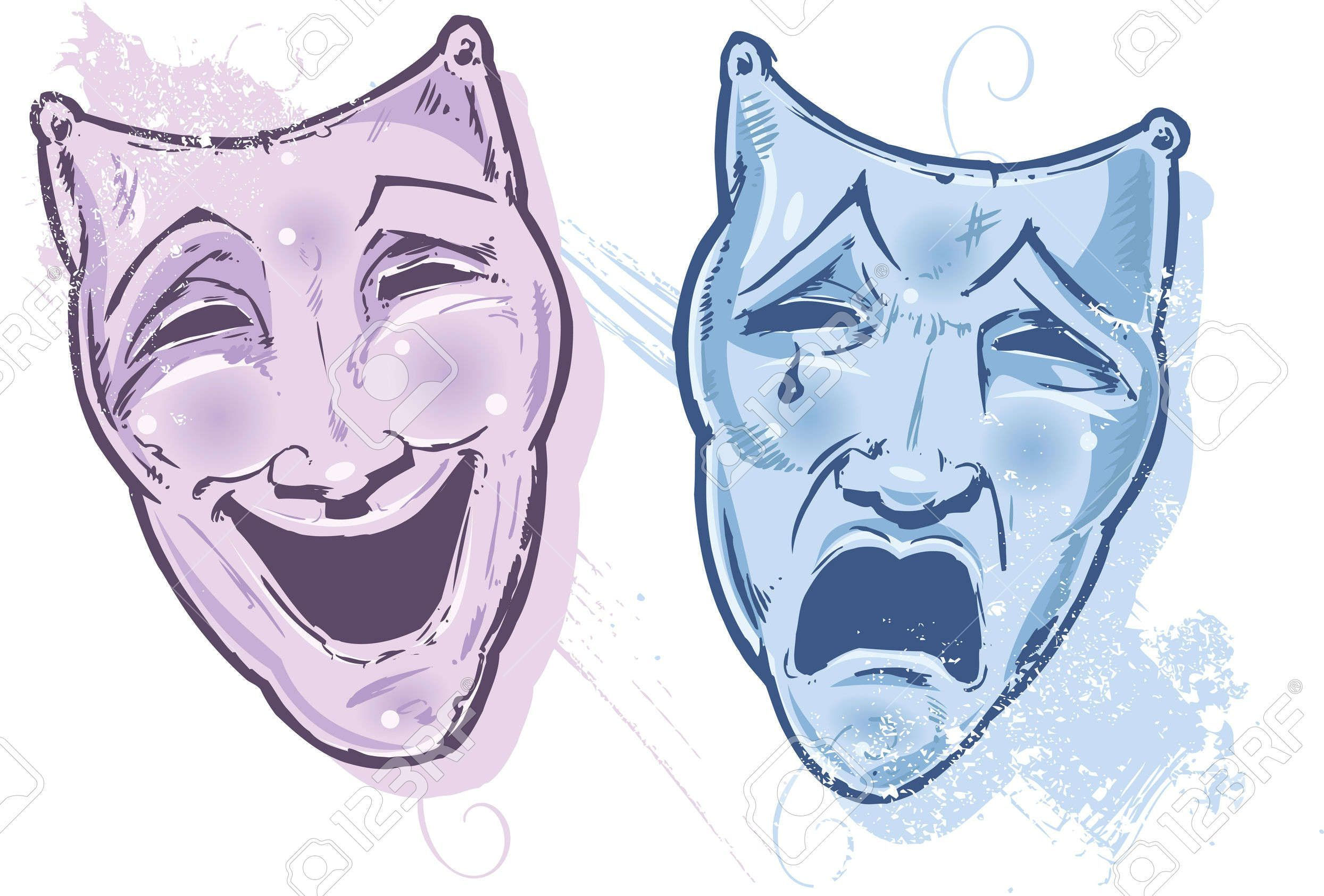 Stock Vector | Drama masks, Mask drawing, Laugh now cry later