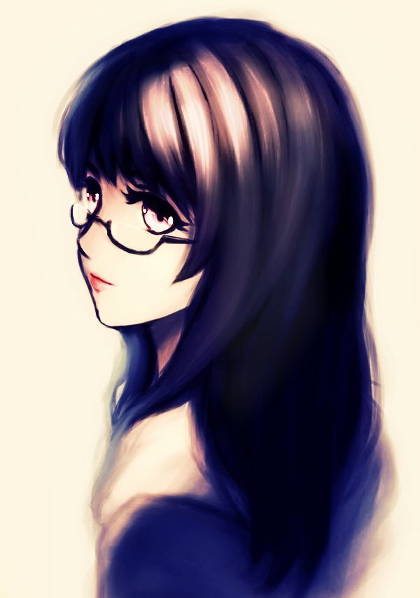 beautiful flawless girl glasses hair red eyes anime