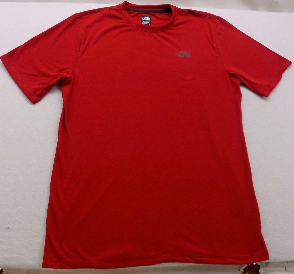 New The North Face Red Black Logo Flash Dry Short Sleeve