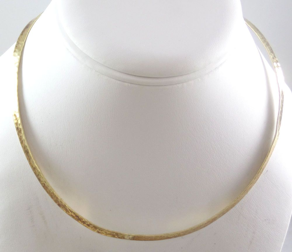 "Vintage Gold Over 925 Sterling Silver Collar Necklace 15.5"" (14.2g) - 450325 #Collar"