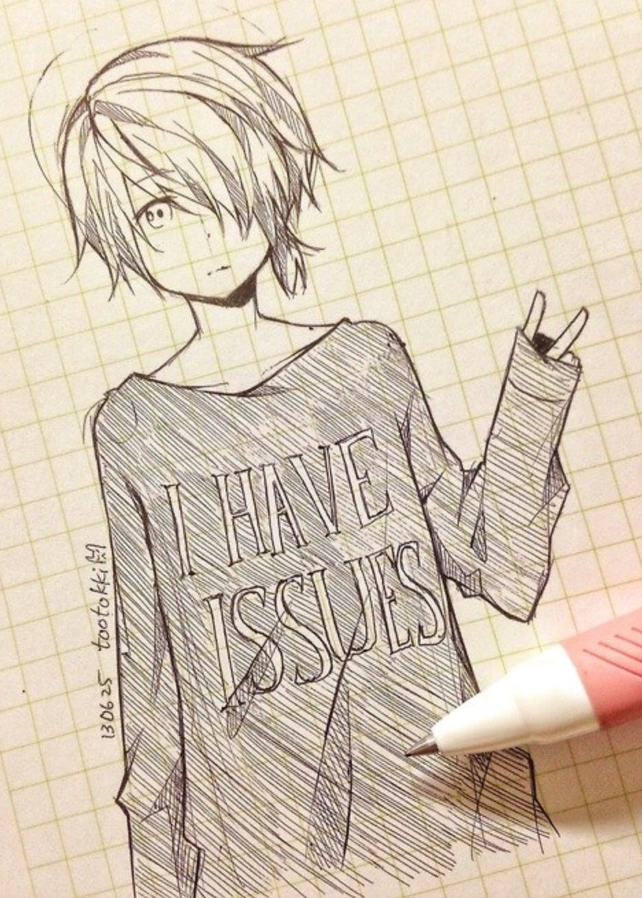 Cute anime drawing tootokki I have issues sweater Anime