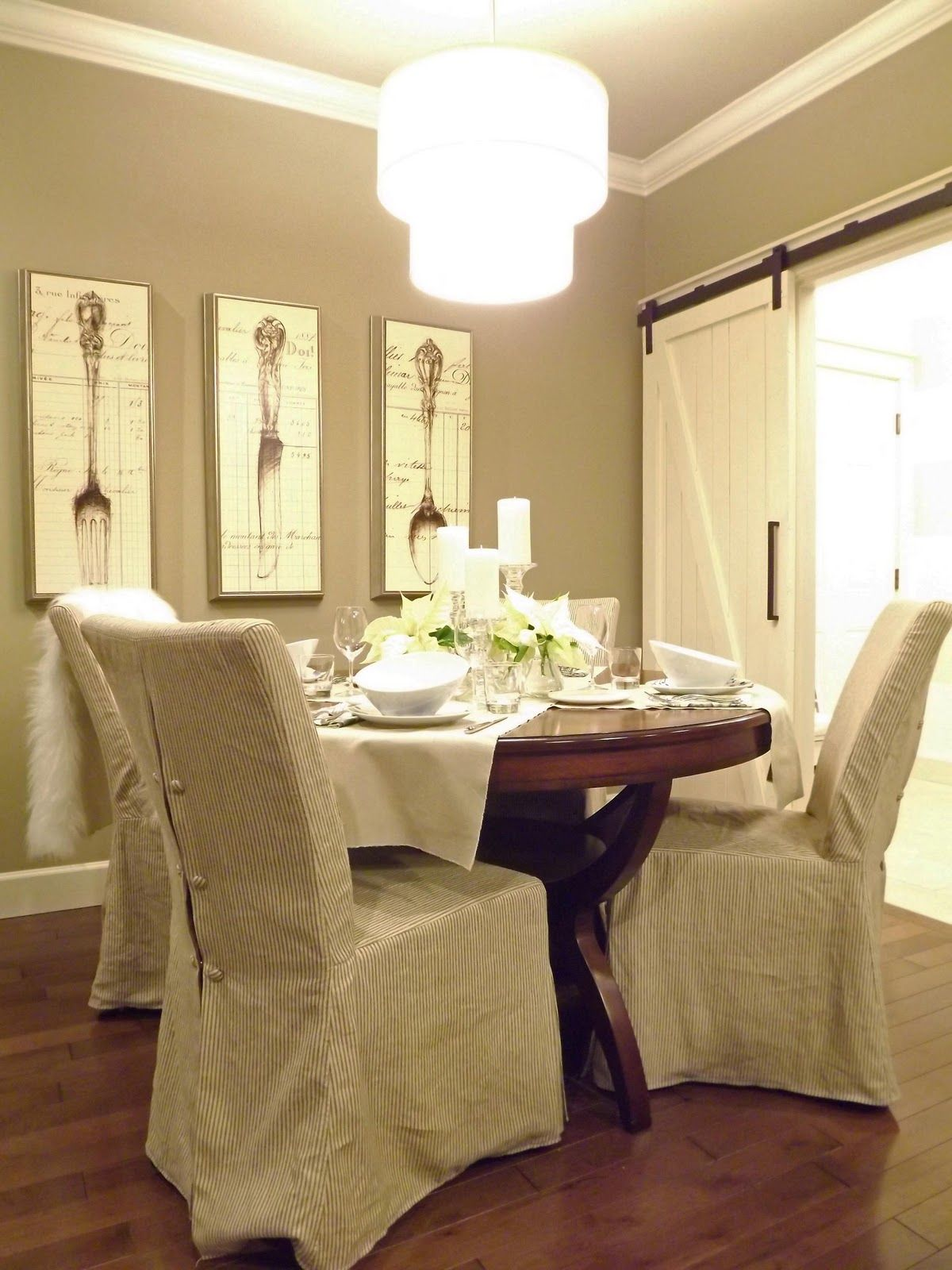 love this cozy dining, barn door, wall color everything! | DIY Home ...