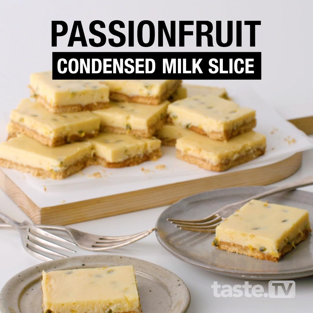Passionfruit And Lemon Condensed Milk Slice Video Recipe Video In 2020 Australian Desserts Dessert For Dinner Slices Recipes