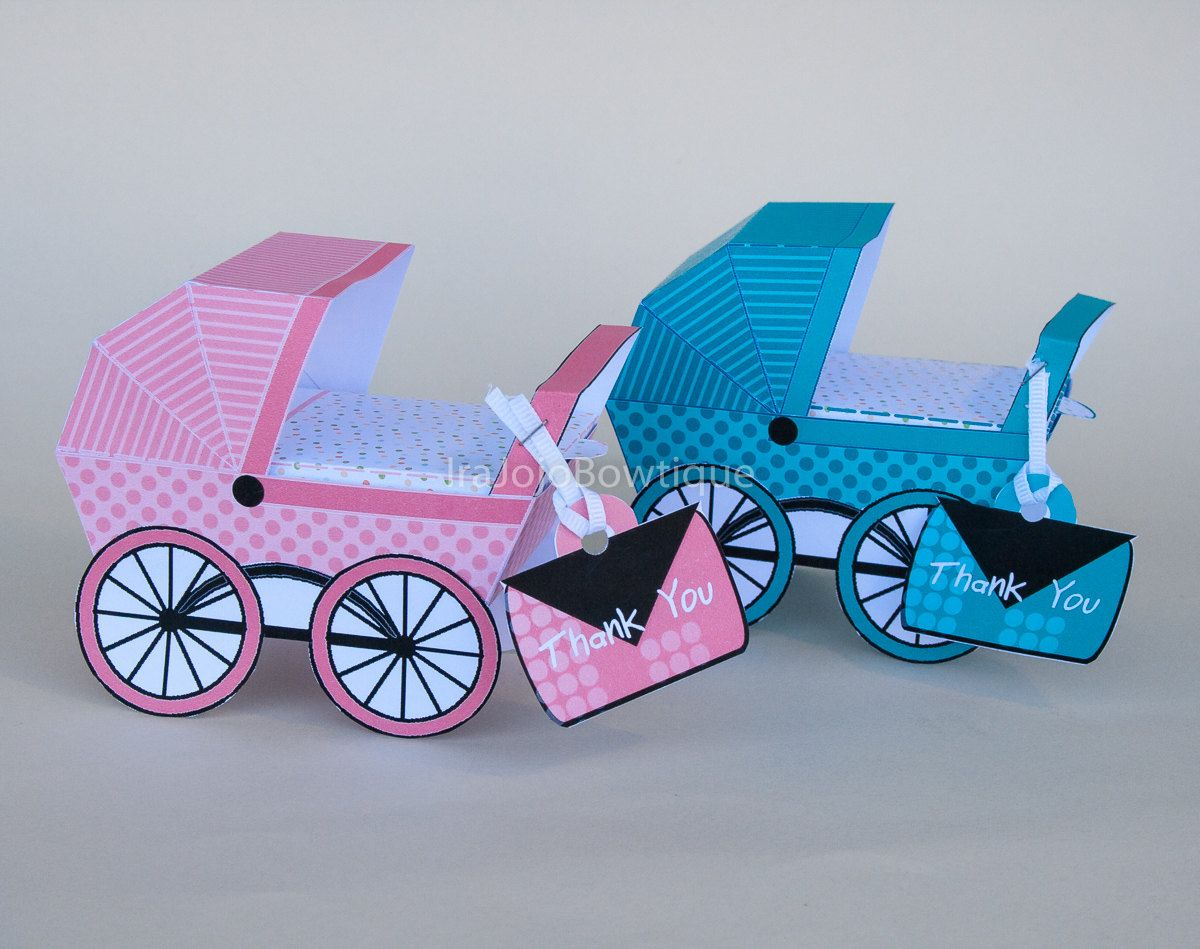 Baby Carriage Favor Box Set, Green & Rose Pink,Baby Shower Favor ...