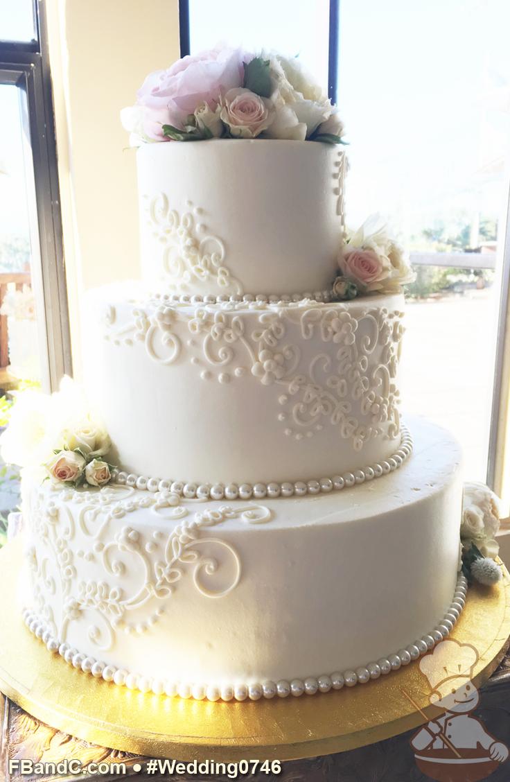 Design W 0746 Butter Cream Wedding Cake 14 10 6 Serves 125