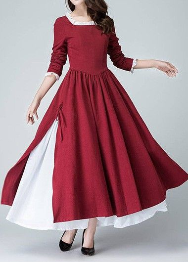 b07efbcf527 Wine Red Square Collar Tie Side Maxi Dress on sale only US 37.26 now ...