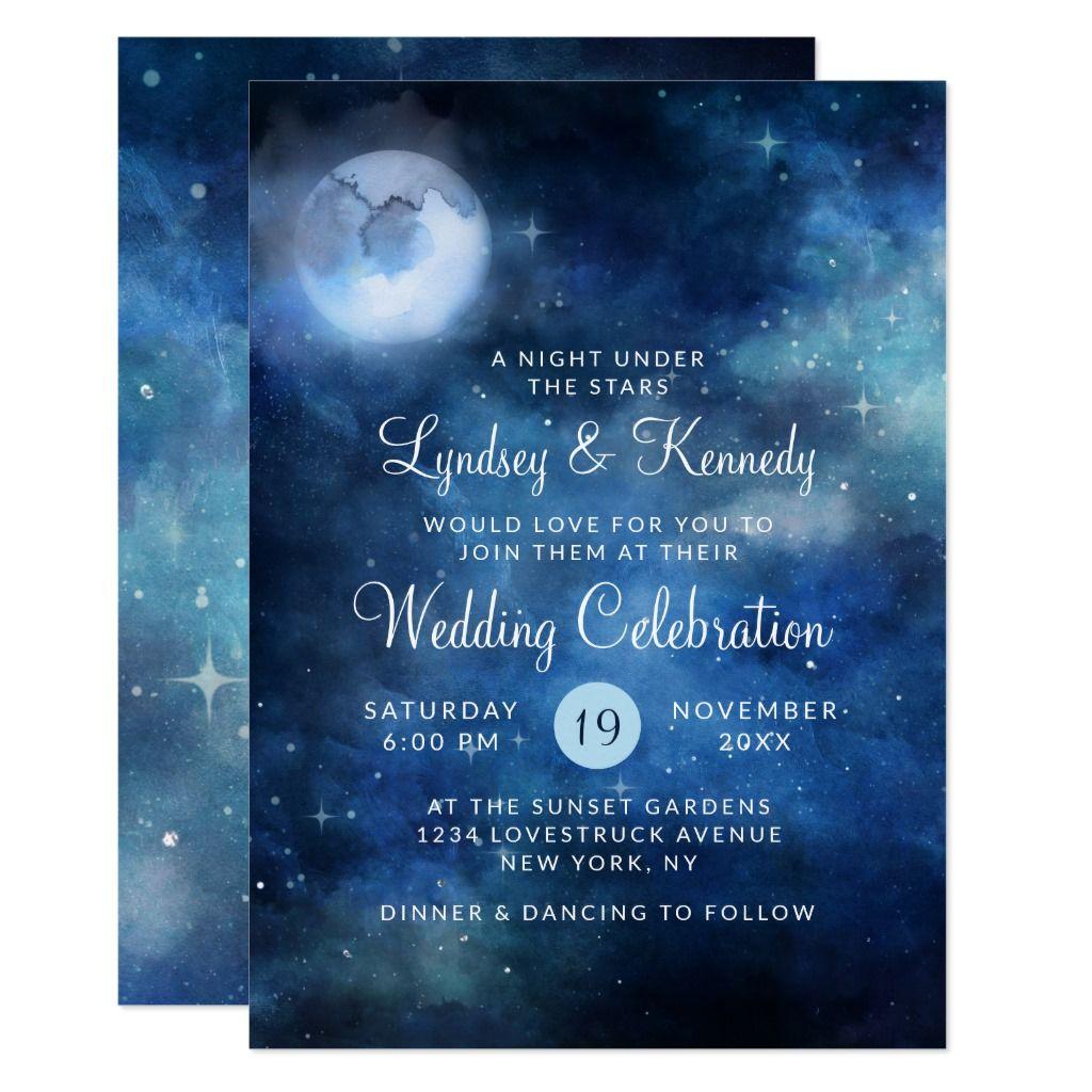 Lunar Sky Full Moon Night Under The Stars Wedding Invitation Zazzle Com Stars Wedding Invitations Star Wedding Galaxy Wedding