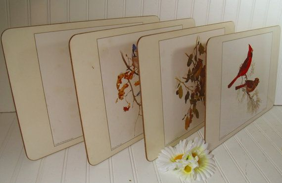 Laminated Cork Board Bird Placemats Vintage Glen Loates Etsy Nature Inspired Decor Bird Prints Prints