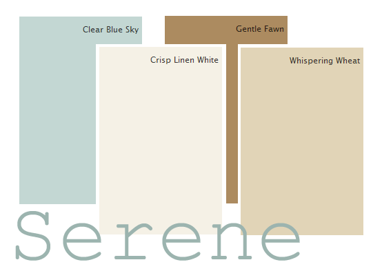 A Clic Serene Color Palette Clear Blue Sky Crisp Linen White Gentle Fawn Whispering Wheat Via Diane Henkler Inmyownstyle