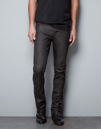 Waxed Trousers With Contrasting Coin Pocket Jeans Man Zara