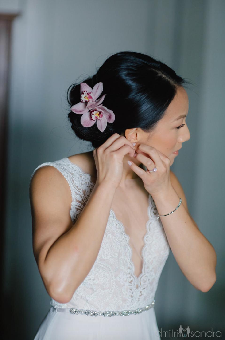 pink cymbidium orchid bridal hair flowers   hair flowers in