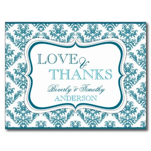 Custom Teal Blue Wedding Thank You Cards Wedding Design Card