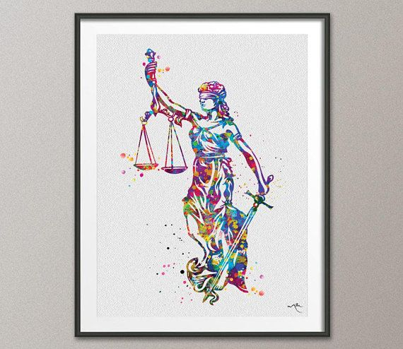 Lady Justice Art Watercolor Print Scales Of Lawyer Office Decor Wall Judge Law Hanging P The Bar Gift 424