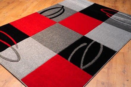 Dywan Kwadraty Ze Wzorem Czerwień Dywany Nowoczesne Rugs