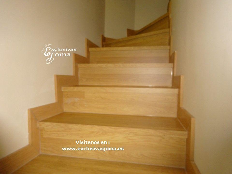 Forrado de escalera de chalet con tarima flotante con - Tarima flotante color roble ...