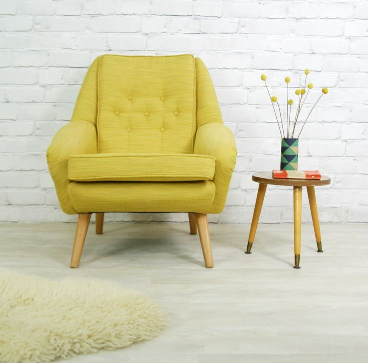 Beautiful 70s Retro Chair Design Ideas With Wooden Legs And Lime Green  Cover Combine With Creative Wooden End Table