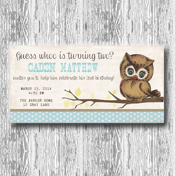 Vintage Owl Invitation for Birthday Party or Baby Shower Boys DIY