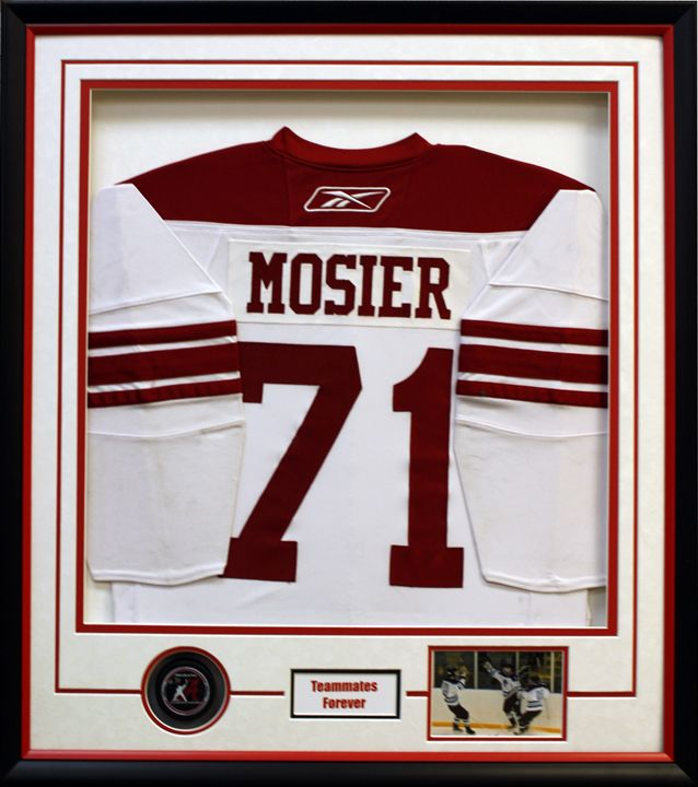 Custom framed NHL Mosier Hockey Jersey! Custom frame design by Art ...