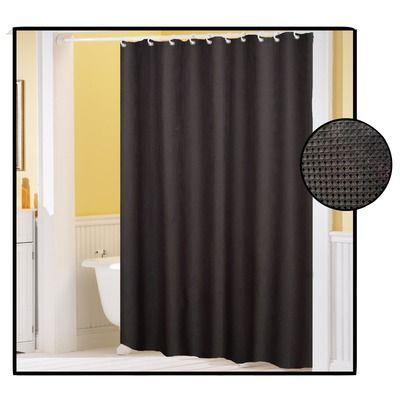 Carnation Home Fashions Waffle Weave Fabric Shower Curtain