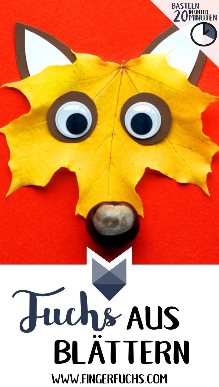 Fuchs aus herbstlichen Blättern und Kastanien basteln. Einfach & schnell mit Kindern im Herbst basteln. Klicke hier für die komplette Anleitung! #halloweencraftsforkids