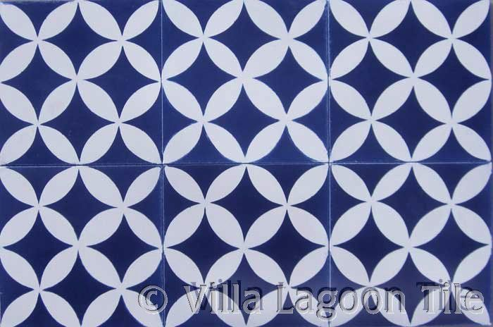 Bathroom Floor Blue And White Cement Tile