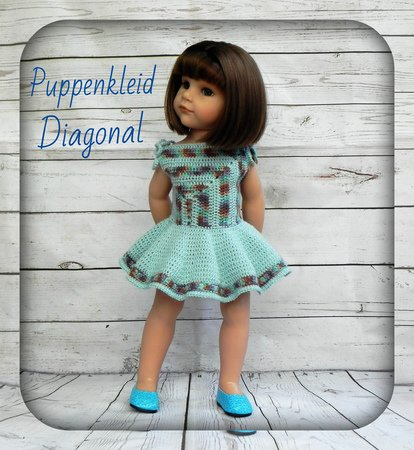 Anleitung für Puppenkleid Diagonal Stehpuppe Puppe 4550