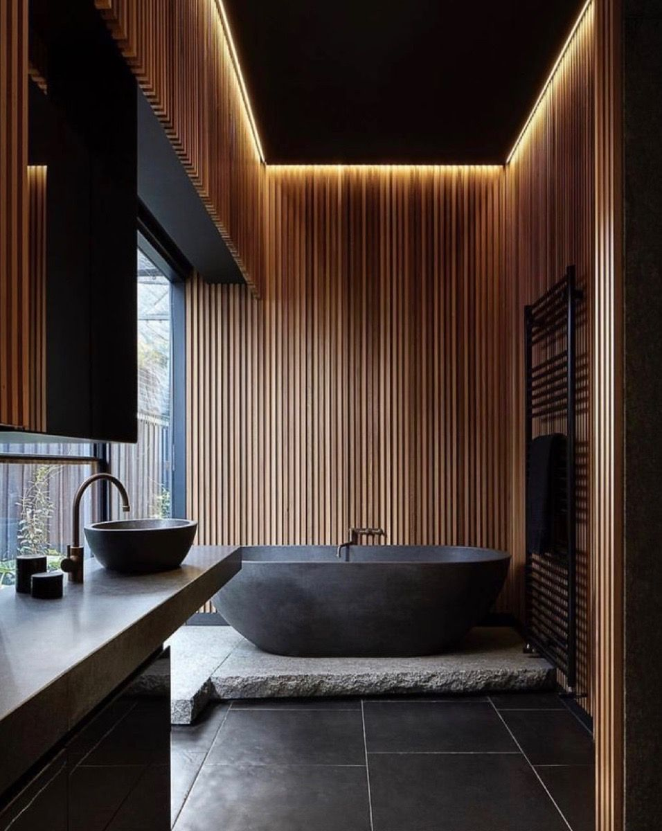 Could do slatted wall at bathtub but it may just be too expensive to be worth it