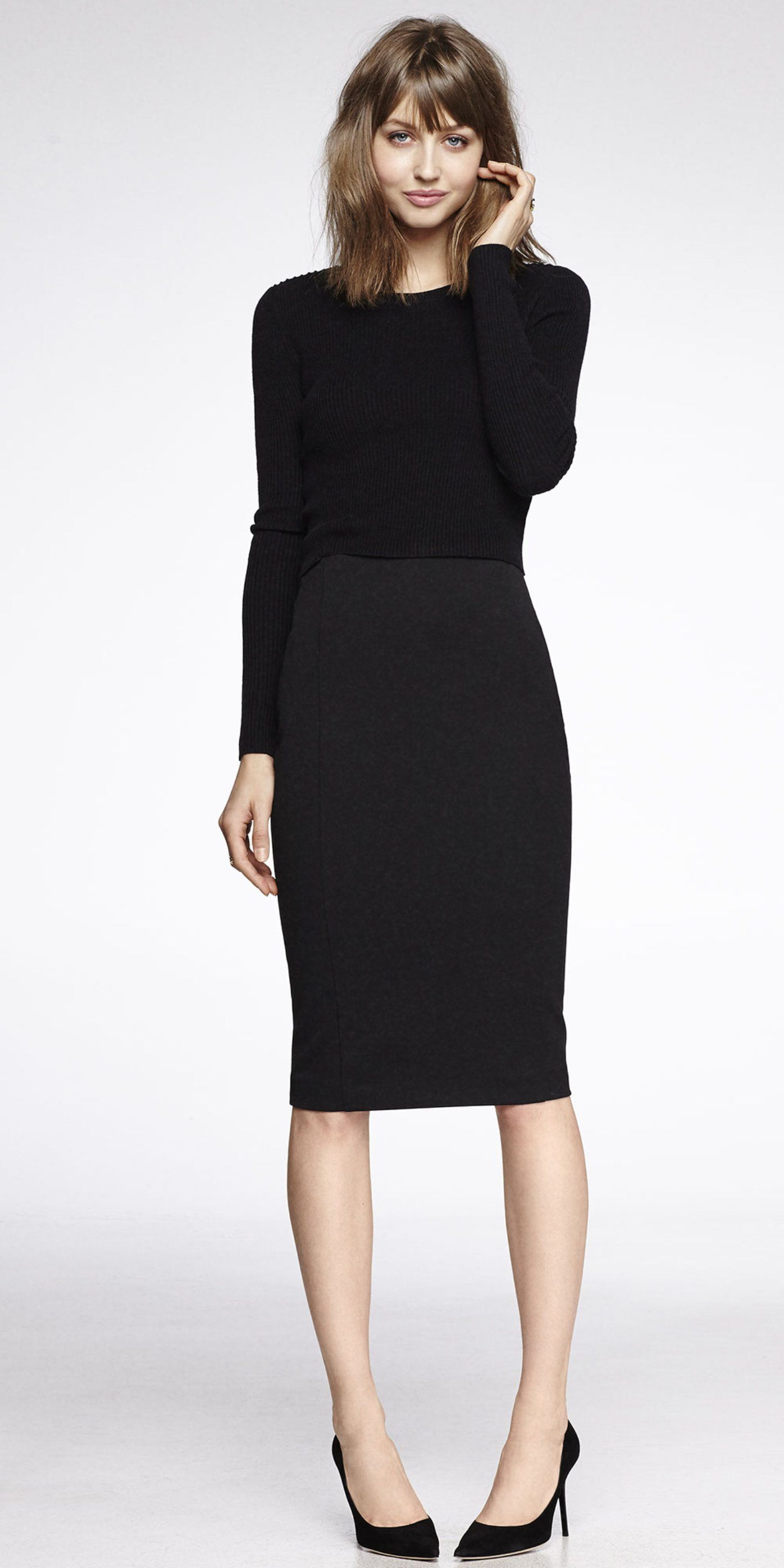 Love mixing a black sweater with a pencil skirt. Express ...