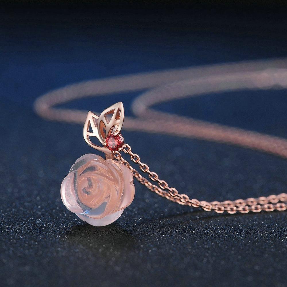 Rose Flower Cut Created Rose Quartz Necklace #quartznecklace