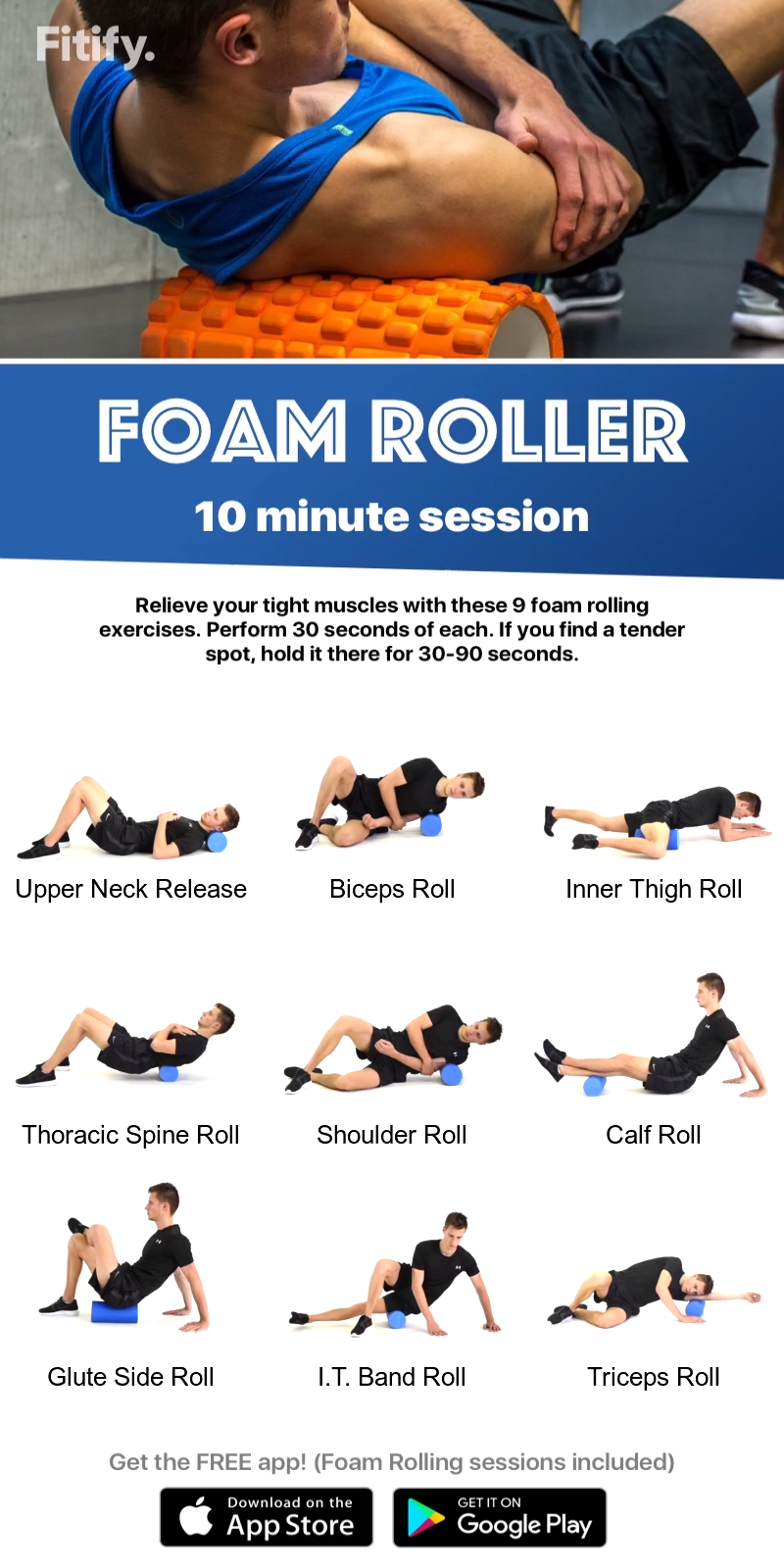 Foam Rolling session to massage and release all important