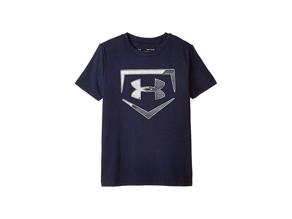 Under Armour Kids Baseball Logo Short Sleeve Tee Big Kids Midnight Navy Metallic Silver Boy S Under Armour Kids Under Armour Apparel Logo Shorts