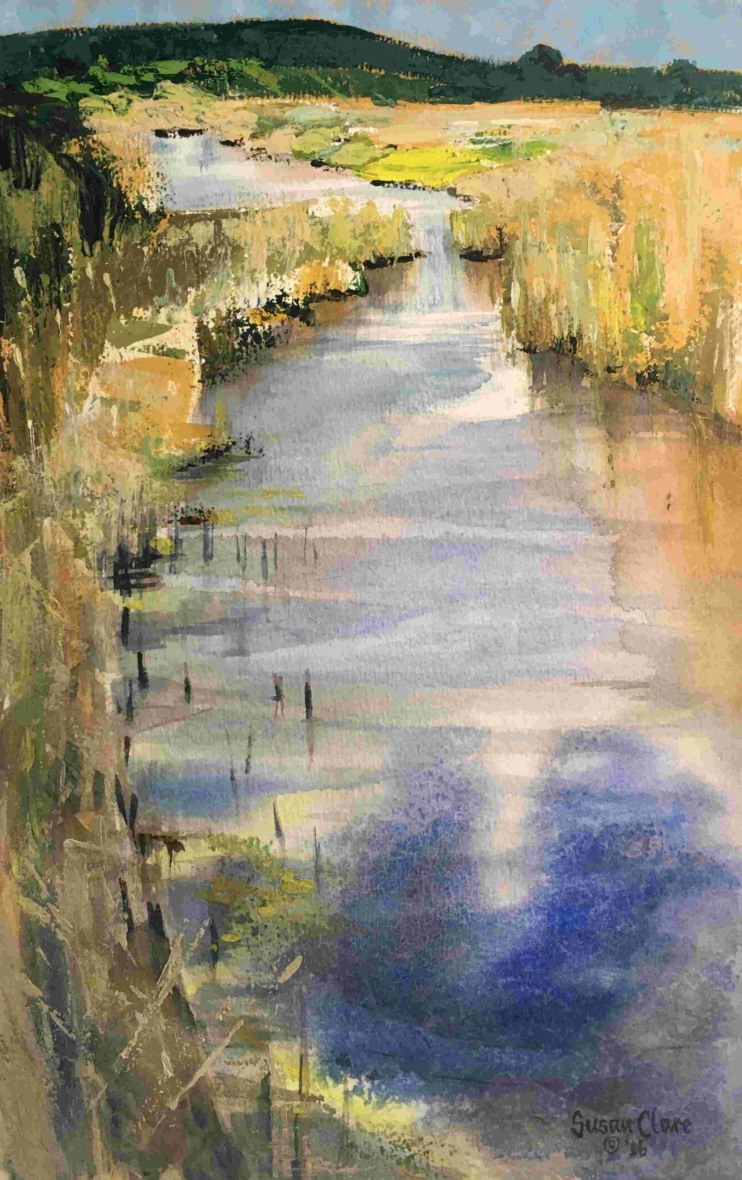 SUSAN CLARE, River in the Reeds II, mixed watermedia, 56x76cm. Vote for  your favourite artwork fr… | Abstract art landscape, Landscape artist,  Original art for sale