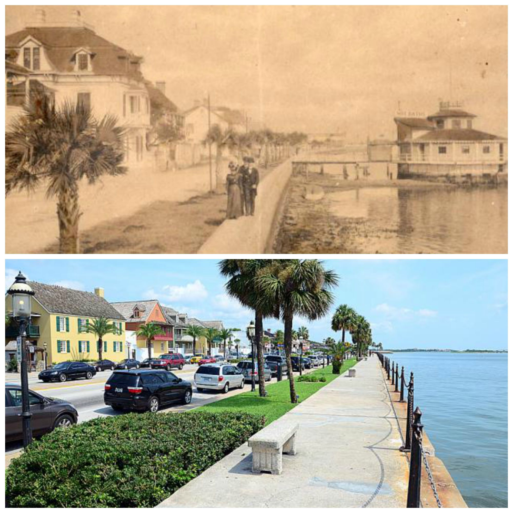 St. Augustineu0027s Sea Wall In The Early 1800s And Today. The Coquina Barrier