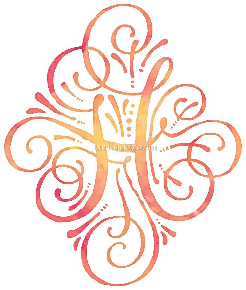 Monogram Watercolor Calligraphy H by sticker