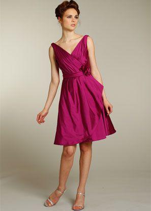 20d68674cd magenta silk taffeta a-line tea length dress with draped bodice with tip of  the shoulder