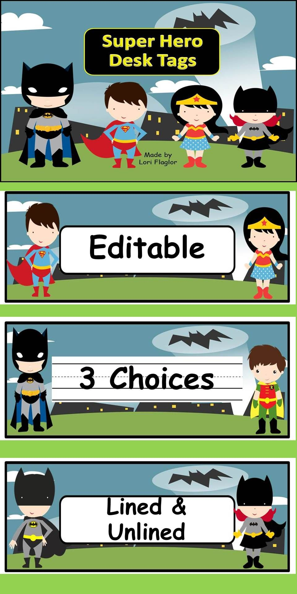 super hero theme desk tags- editable | superhero school theme