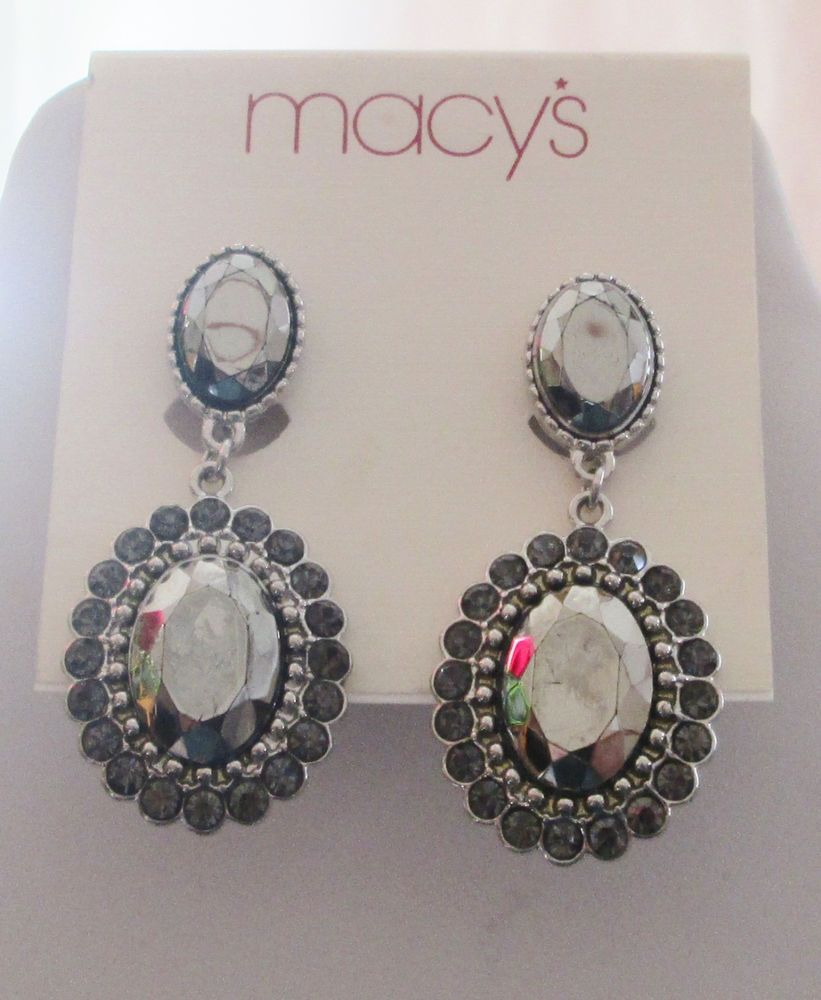 Macy S Silvertone Clip On Dangle Earrings Retail 22 50 Macys