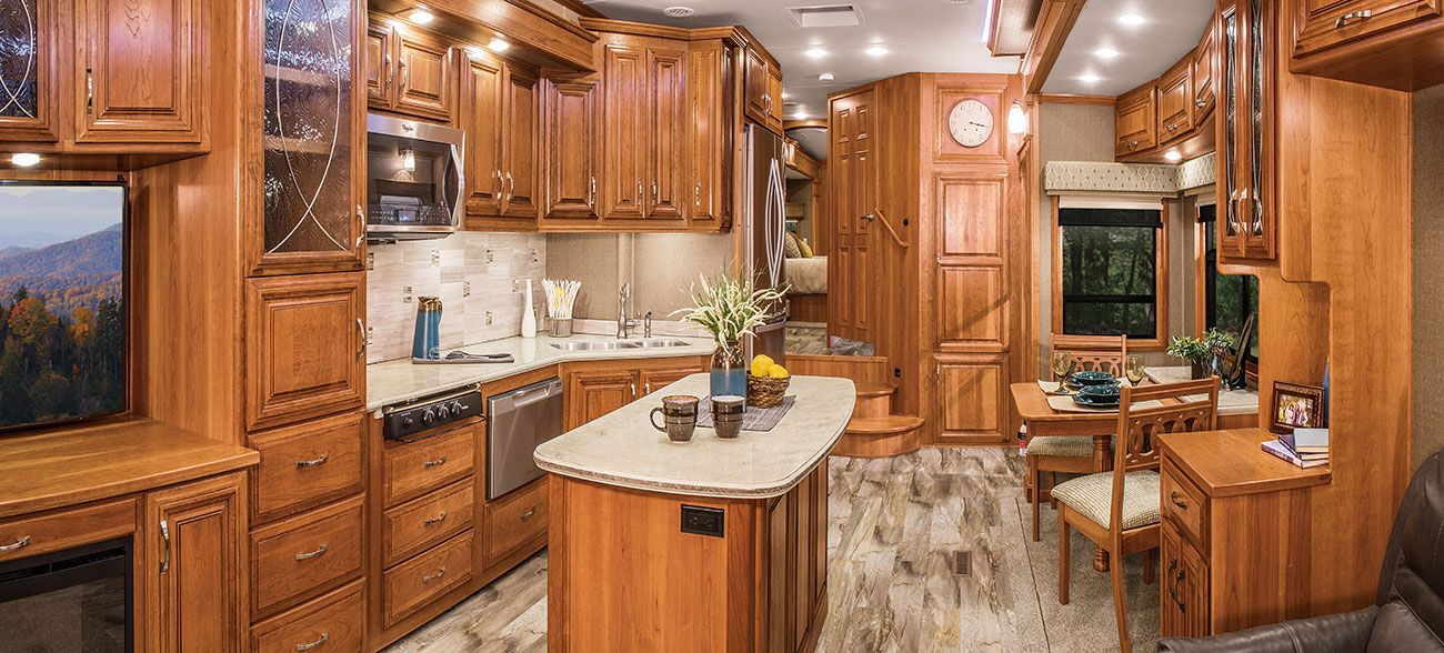 DRV Mobile Suites - Saw this one at the RV show. It wasn't the prettiest one there, but it has a dishwasher and washer/dryer included. Only $129,000!