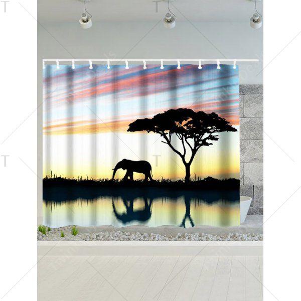 Afro Landscape Elephant Waterproof Shower Curtain - 180*200cm ...
