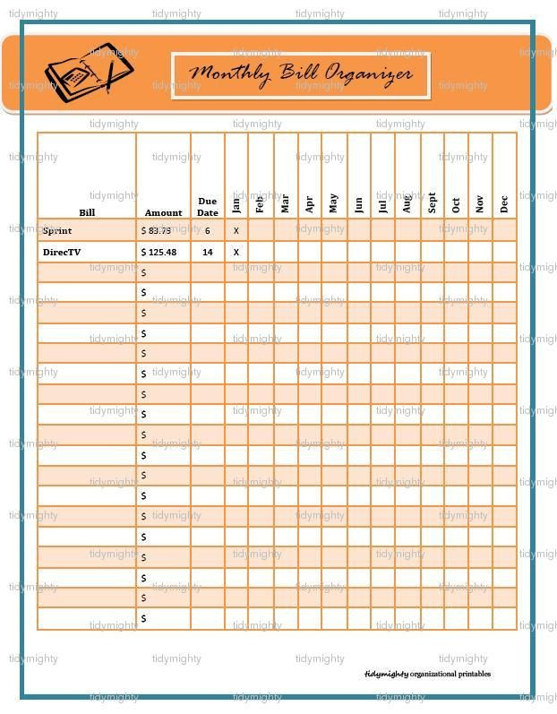 Monthly Bill Organizer  Tracker  Printable Pdf  Christmas In