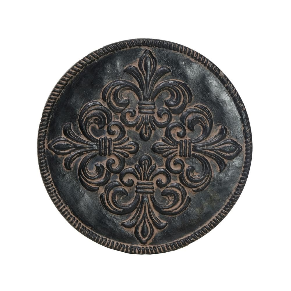 MPG 12 in. Dia x 1 in. H Composite Fleur de Lis Stepping Stones in Aged Charcoal (Set of 3) #steppingstonespathway