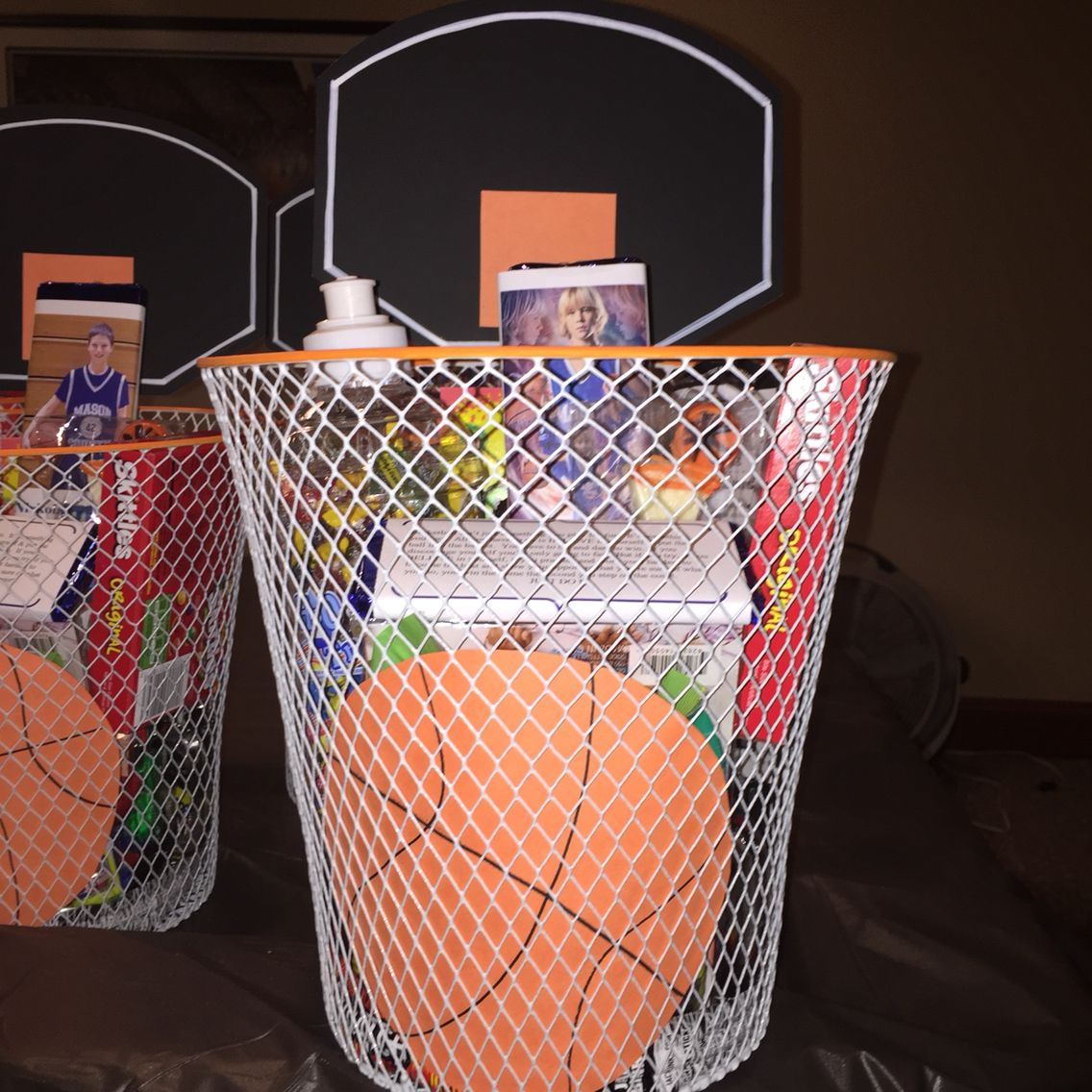Basketball Basket Basket Is The Dollar Tree Painted The Rim Orange Personalized Candy Basketball Birthday Parties Basketball Team Gifts Senior Night Gifts