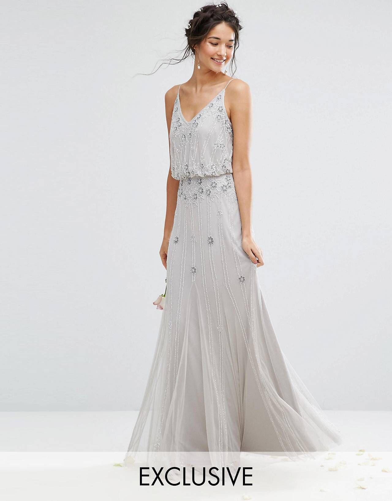 Amelia Rose Embellished Overlay Maxi Dress With Mesh Insert Skirt ...