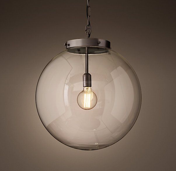 Parisian Architectural Clear Glass Poste Pendant Lighting Entry And Front