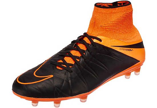 hot sales 4c861 12a64 Nike Hypervenom Phantom II Leather FG Soccer Cleats - Black and Orange
