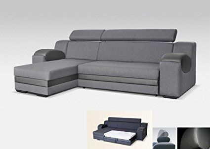Universal Corner Sofa Bed Madrit Grey Fabric Faux Leather