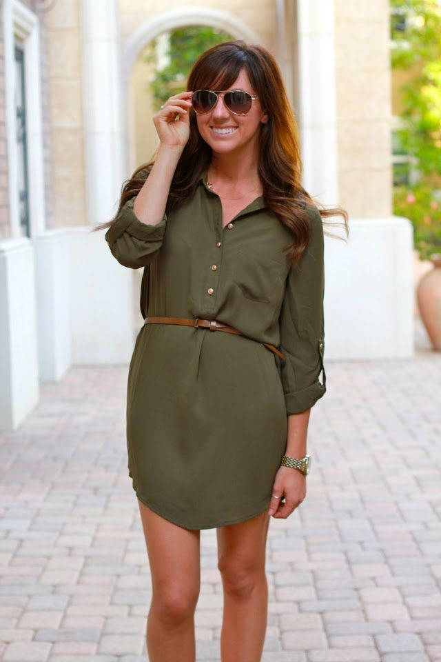 00f6dbb7 The Olive Shirt Dress- would look better with leggings, its pretty short!